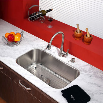 """Kraus Single Lever Pull Out 15-1/5""""H Kitchen Faucet and Soap Dispenser"""