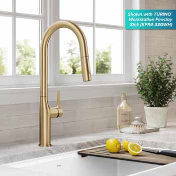 Kraus Brushed Gold Tall Oletto Kitchen Faucet Lifestyle View 2