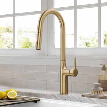 Kraus Brushed Gold Tall Oletto Kitchen Faucet Lifestyle View
