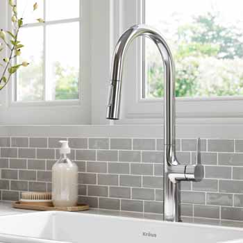 Kraus Chrome Tall Oletto Kitchen Faucet Lifestyle View