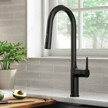 Kraus Matte Black Tall Oletto Kitchen Faucet Lifestyle View 2
