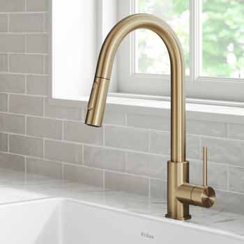 Kraus Brushed Gold Standard Oletto Kitchen Faucet Lifestyle View