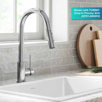 Kraus Chrome Standard Oletto Kitchen Faucet Lifestyle View 2