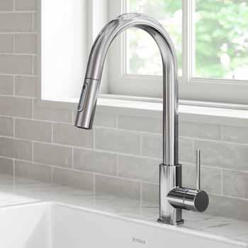 Kraus Chrome Standard Oletto Kitchen Faucet Lifestyle View