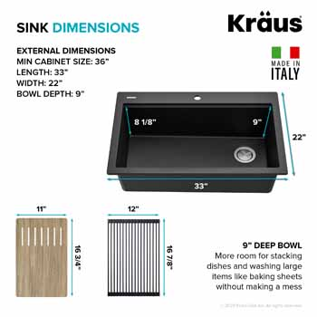 Kraus Black Sink Dimensions