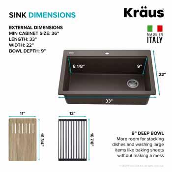 Kraus Brown Sink Dimensions