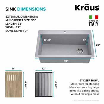 Kraus Grey Sink Dimensions