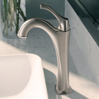 "Kraus Arlo™ Spot-Free all-Brite Brushed Nickel Single Handle Vessel Bathroom Faucet with Pop Up Drain, Faucet Height: 12-1/8"", Spout Reach: 5"""