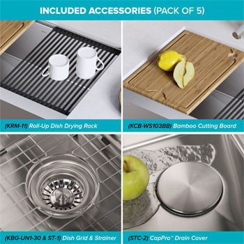 """Stainless Steel - 30"""" Included Accessories"""