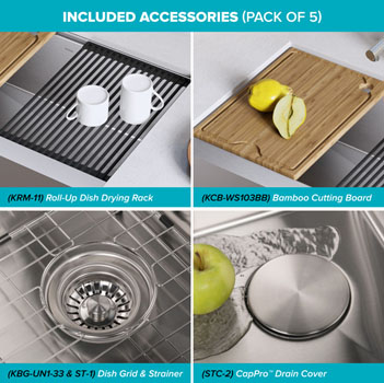 """Stainless Steel - 33"""" Included Accessories"""