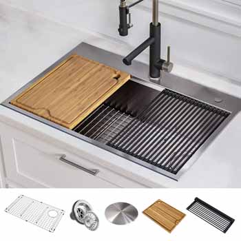 "Stainless Steel - 25"" - 30'' Sink and Accessory View"