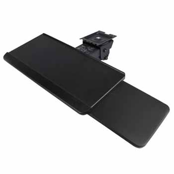 """Knape & Vogt 17"""" Classic Lever Arm with Keyboard Tray with Slide Through Mousing Surface in Black Finish"""