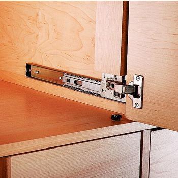 Knape \u0026 Vogt Side Mounted 3/4 Extension 30lbs. Self Close Pivot Door Slide (Pair) 12\u0027\u0027 - 24\u0027\u0027 Lengths Finished in. & Drawer Slides by Knape \u0026 Vogt | KitchenSource.com