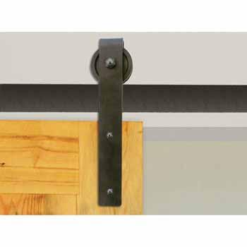 """Knape & Vogt 3"""" Side Mount Hook Carriers, Flat Rail Sliding Door Hardware Kit, Black"""