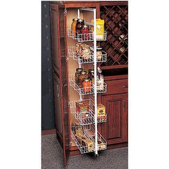 Pantry Organizers - White Kitchen Pantry Roll-Out w/ Full ...
