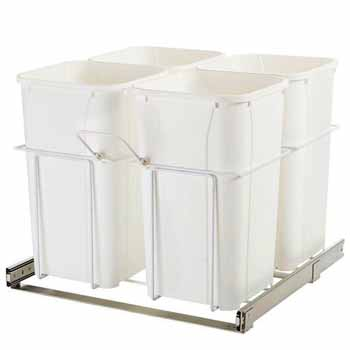 Knape & Vogt Four Waste Bins Pull-Out, 27 Qt. White, 23-3/8''W x 19''D x 22''H, Min. Cabinet Opening: 24''W