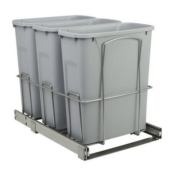 Triple Waste Recycling Bins In Cabinet Pull Out Bottom Mount Trash Can Container