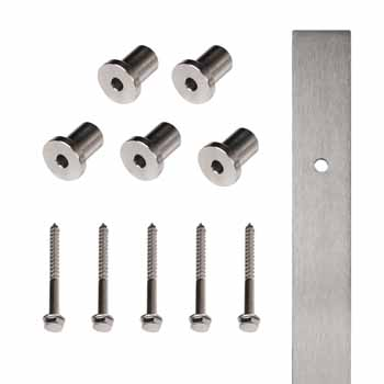 "Knape & Vogt 72"" Flat Rail with 5 Mounting Brackets, Stainless Steel"