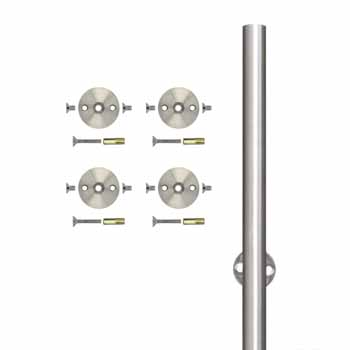 Knape & Vogt 78-3/4'' Barn Door Round Rail with 4 Mounting Brackets, Stainless Steel