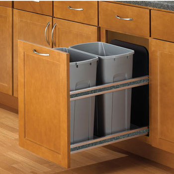 Knape Vogt Double Soft Close Undermount Waste Recycling Bins Min Cabinet Opening 15 Wide