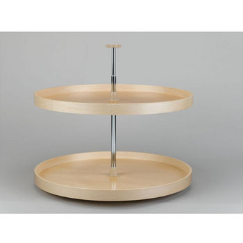 Full Round Banded Wood 2-Tray Lazy Susan
