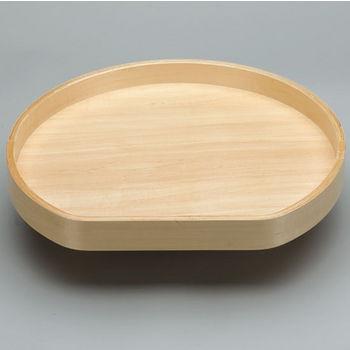 D-Shape Banded Wood Single Tray Lazy Susan