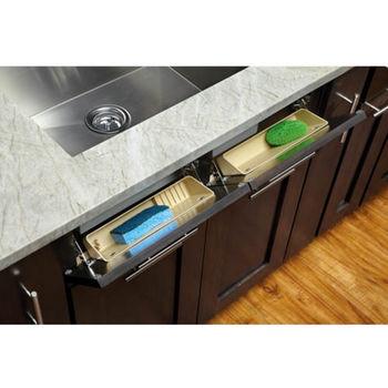Lazy Daisy By Rev A Shelf 11 W Kitchen Or Vanity Cabinet Polymer Tip Out Soap Tray Set Of 2 Almond
