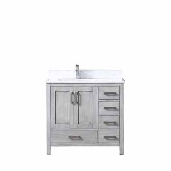 Jacques Left Or Right Version 36 Distressed Grey Single Vanity Set With White Carrara Marble Top Square Sink And Mirror Measuring 36 W X 22 D X 34 H By Lexora Home Kitchensource Com