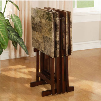 Linon Tray Table Set, Faux Marble Top & Brown Frame