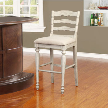 """Linon Marino Bar Stool in White Wash Finish and Linen Fabric, 19-1/2"""" W x 22-3/4"""" D x 45"""" H"""