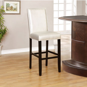 """Linon Stewart Pearl Bar Stool in Black Finish and Sizzle Pewter Fabric, 18"""" W x 22"""" D x 47"""" H"""