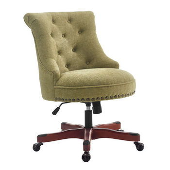 "Linon Sinclair Office Chair in Dark Walnut Finish and Green Fabric, 23"" W x 26-3/4"" D x 35"" - 39"" H"
