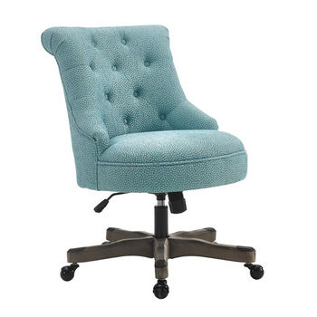 "Linon Sinclair Office Chair in Gray Wash Wood Finish and Light Blue Fabric, 23"" W x 26-3/4"" D x 35"" - 39"" H"