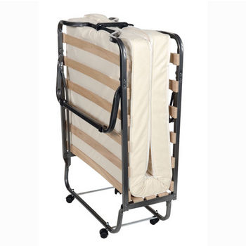 """Linon Trento Folding Bed in Metal Finish and Beige Fabric, 31-1/2"""" W x 74-4/5"""" D x 15"""" H"""