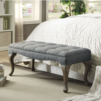 "Linon Loire Cabriolet Bench in Gray Wash Finish and Washed Gray Linen Fabric, 43-3/4"" W x 17-3/4"" D x 17-45/64"" H"