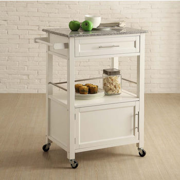 Mitchell Mobile Kitchen Cart With Granite Top In Black Or White 27 Wide By Linon Kitchensource Com