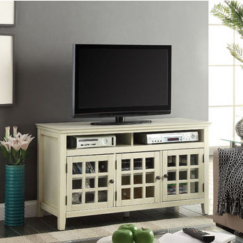 "Linon Largo Media Cabinet in White, 48"" W x 20"" D x 27"" H"