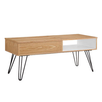 """Linon Perry Coffee Table in Natural, White, Orange, 45-3/8"""" W x 19-3/4"""" D x 19"""" H"""