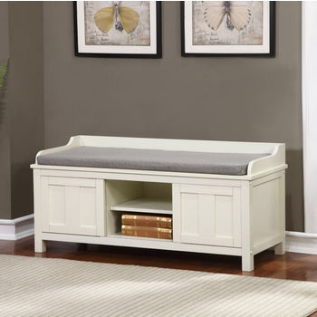 """Linon Lakeville White Storage Bench in Antique White Finish and Polyester/Linen Fabric, 45"""" W x 17"""" D x 21"""" H"""