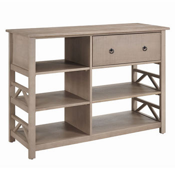 "Linon Titian Tall Media Center in Rustic Grey, 50"" W x 18"" D x 36"" H"