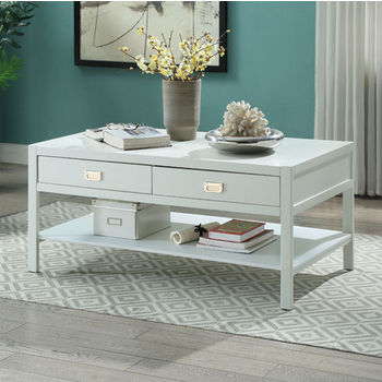 "Linon Peggy Coffee Table in White, 44"" W x 24"" D x 20"" H"