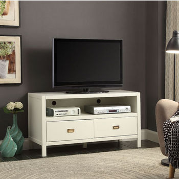 "Linon Peggy Media Center in White, 44"" W x 16"" D x 24"" H"
