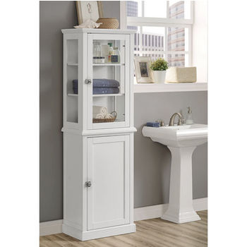 "Linon Scarsdale Freestanding Tall Cabinet in White, 21-21/32"" W x 13-25/64"" D x 68-5/16"" H"