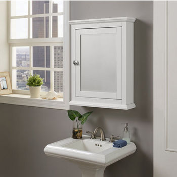 """Linon Scarsdale Wall Mounted Medicine Cabinet in White, 23-5/8"""" W x 6-7/32"""" D x 30"""" H"""