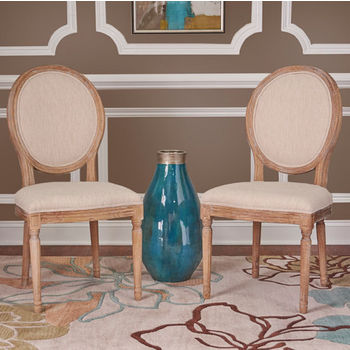 """Linon Manchester Oval Back Chair, Set of 2 in Light Natural Brown Finish and Natural Linen Fabric, 20"""" W x 24"""" D x 39"""" H"""