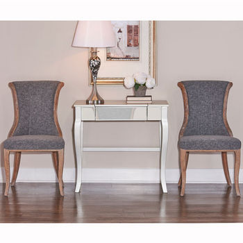 "Linon Sheffield Flared Back Chair, Set of 2 in Dark Natural Brown Finish and Charcoal Fabric, 20"" W x 23-3/4"" D x 37"" H"