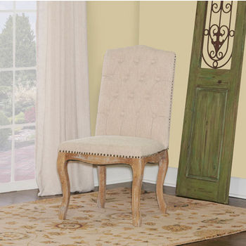 "Linon Portsmouth Square Back Chair, Set of 2 in Light Natural Brown Finish and Natural Linen Fabric, 22"" W x 26-1/4"" D x 41"" H"