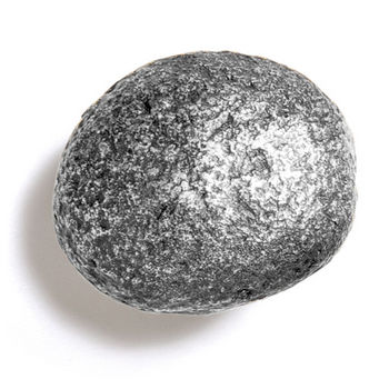 Modern Objects Bark, Leaves & Rocks Collection 2-1/2'' Diameter Rock 10 Oval Knob in Polished Pewter, 2-1/2'' Diameter x 2'' D x 2'' H