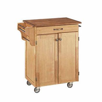 "Mix & Match 2 Door w/ Drawer Cuisine Cart Cabinet, Natural Finish with Oak Top, 32-1/2"" W x 18-3/4"" D x 35-1/2"" H"