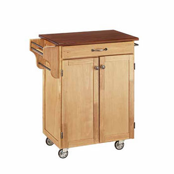 """Mix & Match 2 Door w/ Drawer Cuisine Cart Cabinet, Natural Finish with Cherry Top, 32-1/2"""" W x 18-3/4"""" D x 35-1/2"""" H"""